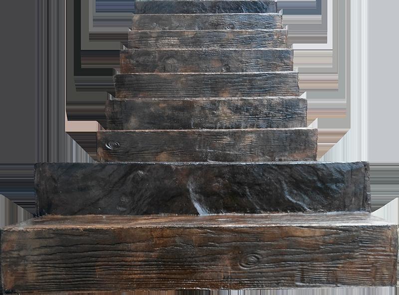 Escalera con hormigón en molde de viga de madera